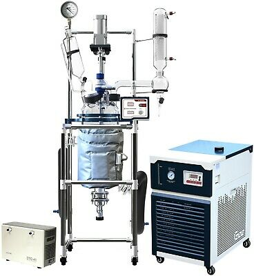 Turnkey Solution! Ai 10L Jacketed Glass Reactor w/ -30°C Chiller & ULVAC Pump