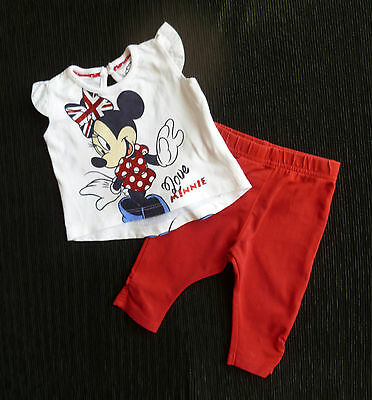 Baby clothes GIRL 0-3m Disney Minnie Mouse outfit short sleeve top/leggings red