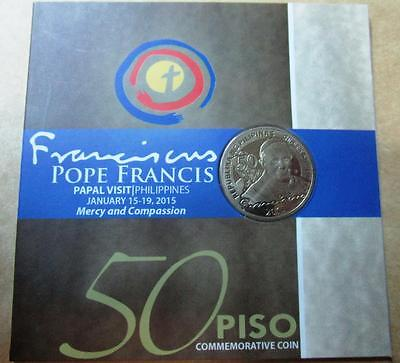 2015 Pope Francis 50 PISO COMMEMORATIVE PAPAL COIN Visit PHILIPPINES carded new