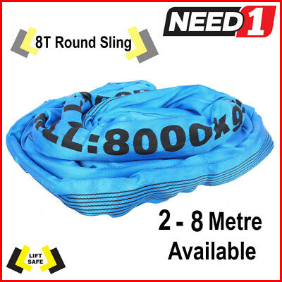 8T Round Lifting Sling 2-8 Metres Available 100% Polyester Comes With Test Cert