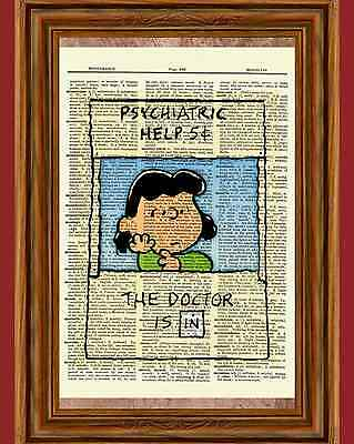 Lucy Charlie Brown Dictionary Art Print Picture Poster Psychiatric Help Booth 5