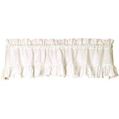 New Primitive French Country Shabby Chic WHITE RUFFLED Curtain Window Valance