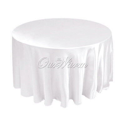"10pcs 120"" White Polyester Seamless Tablecloth Round Wedding Dining Table Supply"