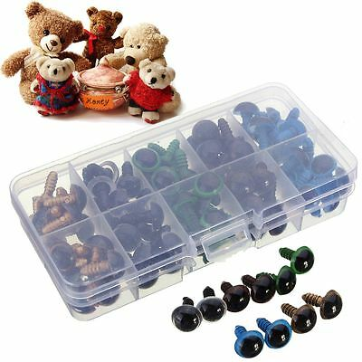 100pcs 14mm Mix Color Plastic Safety Eyes Teddy Bear Doll Puppet Crafts Making