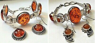 925 Sterling Silver Authentic Baltic Amber Bracelet & Earrings Set in Two Styles