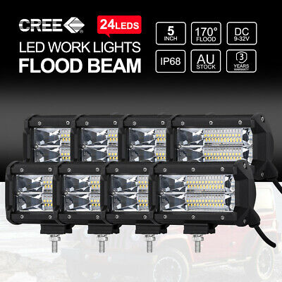 Pair 7 inch 60W CREE LED Light Bar FLOOD Beam Offroad 4x4 Work Lamp 12V 24V