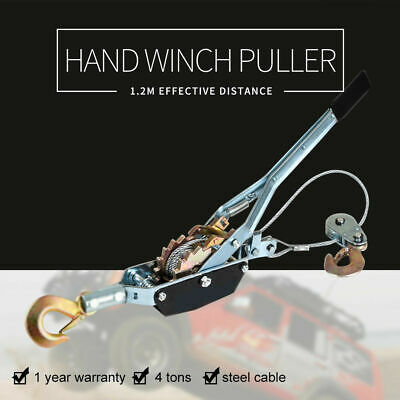 4 Ton Hand Winch Puller 2 Hooks 4x4WD UTE Truck Car Trailer Recovery Winch