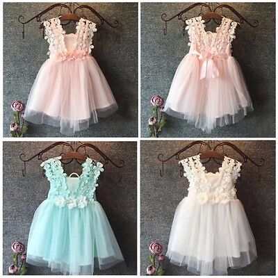 Flower Girl Summer Princess Dress Kid Baby Party Lace Dresses Size 1 2 3 4 5 6 7