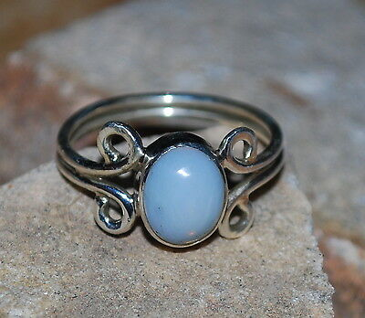 Natural Ethiopian Welo Fire Opal 925 Sterling Silver Handmade Ring Jewelry