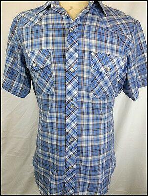 Vintage Blue Plaid Short Sleeve Poly/Cotton Western Shirt Pearl Snaps 95cm