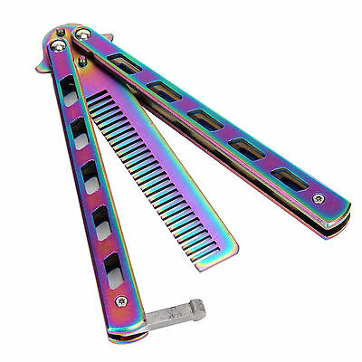 3 Colours New Metal Practice Balisong Butterfly Comb Cool Sports Tool UK