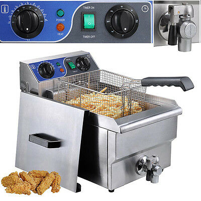 Electric 10L Deep Fryer French Fry Commercial Restaurant Bar w/ Timer and Drain