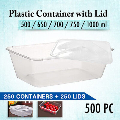 Disposable Rectangular Plastic Containers 250pc+ Lids 250 Pc 500ML Lunch Box