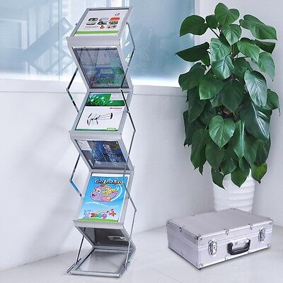 A4 Portable Literature Stand Double Side Case Flyer Brochure Rack for Exhibition