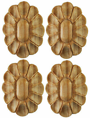 Small Oval Shaped Wood Applique or Onlay. Hand carved pine wood, #424