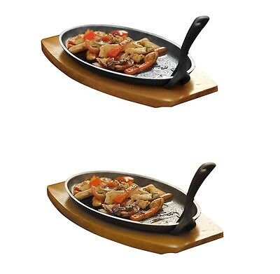 Cast Iron Sizzling Sizzler Steak Plate With Handle Sizzler Dish Wooden Tray New