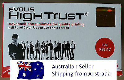 GENUINE Evolis Hightrust R3011 5 panel YMCKO colour ribbon 200 prints pebble