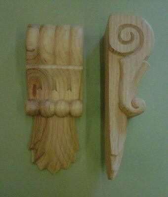 Pair of Classical Corbels with Flame Leaf Design, (Seconds) #722