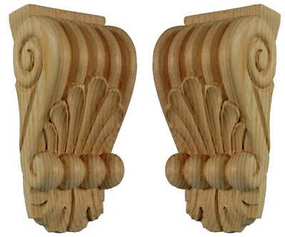 Classical Wooden Fireplace Mantel Shelf Corbels (Pair) in pine wood, #718
