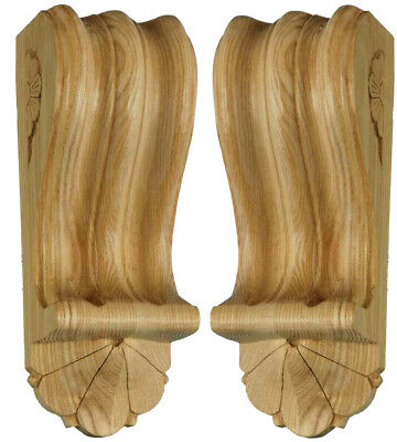 Reeded Wooden Corbels with Fan (Matched Pair). Hand Carved in ASH Wood, #739