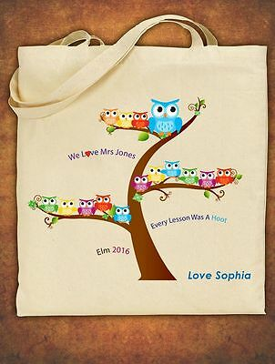 PERSONALISED Tote Bag Thank You Teacher School Gift Cotton  - Owl Design