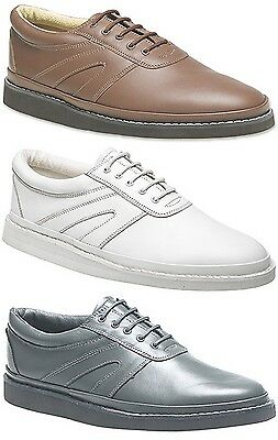 Unisex Bowling Sport Leisure Leather Soft Comfort Lace Shoes Grey Tan White New