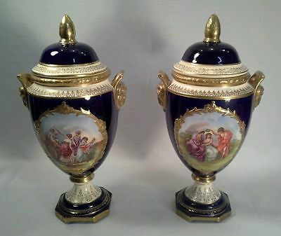 """Pair Of Antique Royal Vienna Style Pictorial 16"""" Urns"""