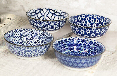 """Made In Japan Blue Pattern Ceramic Appetizer Sauce Dipping Four Bowls Set 3.75""""D"""