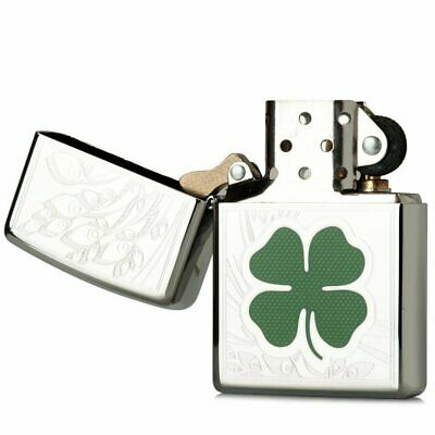 Zippo Shamrock 3D Lighter, High Polish Chrome, Clover, Genuine Windproof #24699