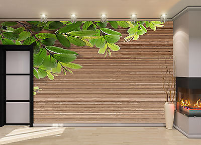 Wood Texture with Leave Wall Mural Photo Wallpaper GIANT DECOR Paper Poster
