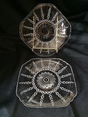 Federal Glass Columbia 3 Bread And Butter Plates