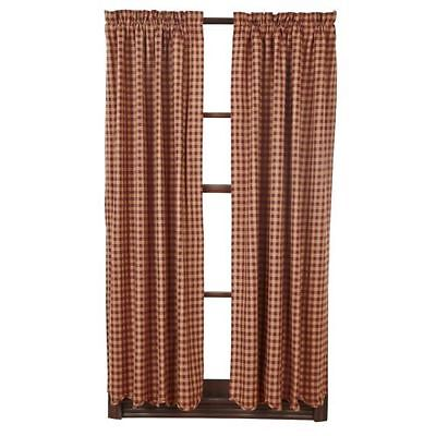 New Primitive Country Red Wine BURGUNDY TAN CHECK Balloon Curtain ...