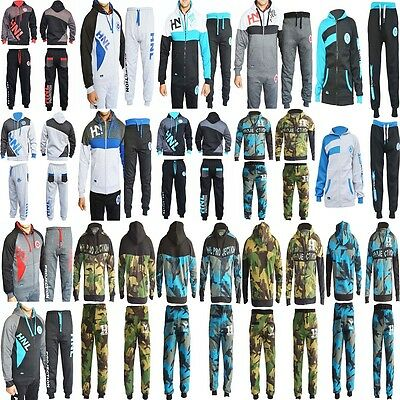Mens 2 Pc Hooded Tracksuit Set Plain & Camouflage Jumper Trousers In Small To XL