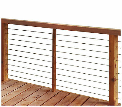 Stainless Steel Cable Deck Porch Rail Railing Post Frame 40 feet Assembly Kit