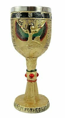 "7.25""h Ancient Egyptian Legend Egypt Open Wing Isis Wine Beverage Goblet Chalice"
