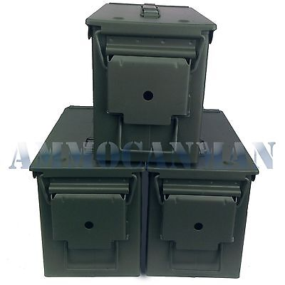 Ustenciled 3-Pack! Three Brand New Mil-Spec 50 Cal Ammo Cans M2A1 Empty Canister