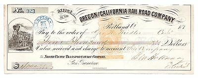 1870 Portland OR Railroad Co. Check Signed Stagecoach King Ben Holladay