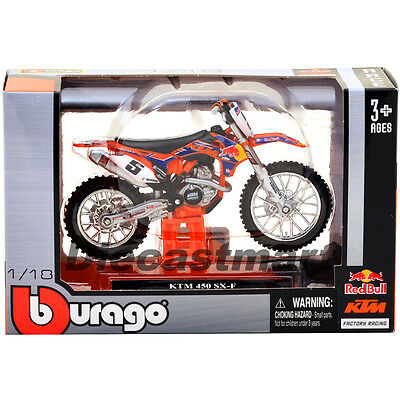 "Ktm 450 Sx-F #5 Ryan Dungey "" Red Bull"" 1:18 Dirt Motorcycle By Bburago 51072"