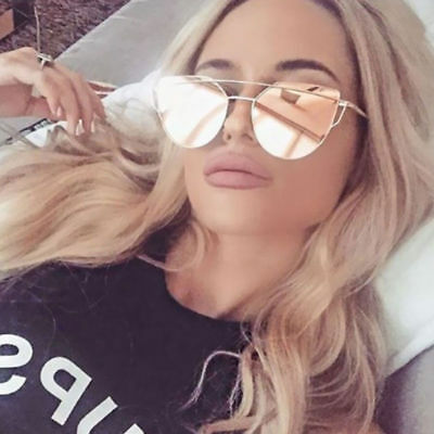 Women Mirrored Lenses Designer Sports Retro Vintage Cat Eye Oversized Sunglasses