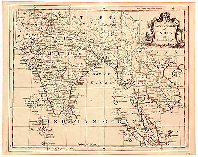 "1767, ""An Accurate Map of India"" (including South-East Asia)."