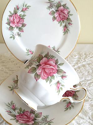 Vintage Queen Anne 8540 Tea Cup Trio with Pink Rose Design - Gift Idea