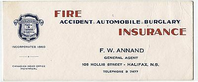 Old Vintage Advertising Blotter Fire Accident Insurance F.W.Annand Halifax NS