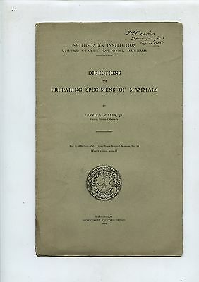 Old 1914 Booklet Directions for Preparing Specimens of Mammals Smithsonian