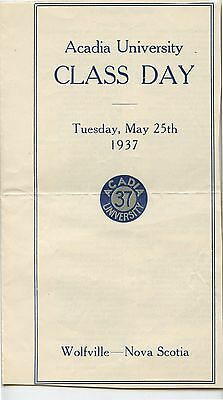 Old 1937 Acadia University Class Day Pamphlet Wolfville NS