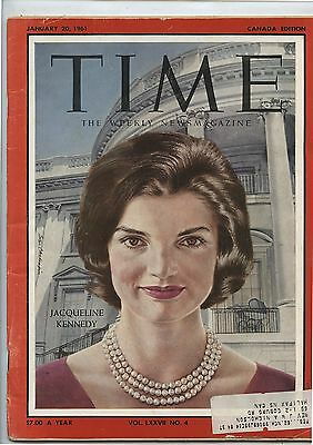Old January 20, 1961 Time Magazine Jacqueline Kennedy Canada Edition