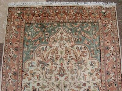 BIRDS LOVE PEACE TREE OF LIFE JUNGLE HAND KNOTTED RUG WOOL SILK CARPET 6x4 RAR