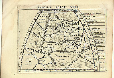 1598 - India and Central Asia (Tabvla Asiae VIII), by Ptolemy.  Original.