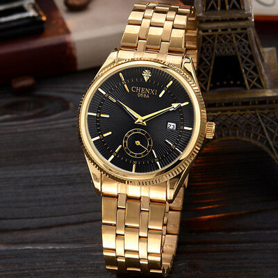 CHENXI Gold Stainless Steel Band Mens Day Date Quartz Sports Wrist Watch Gift