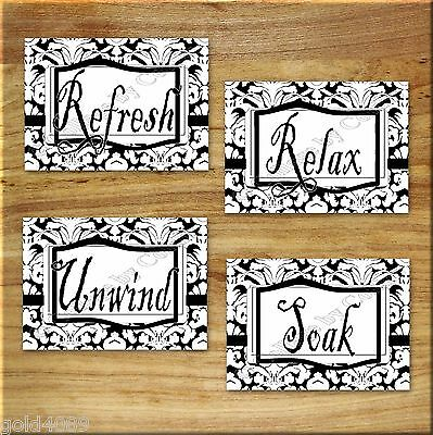 Black White Bath Wall Art Prints Decor DAMASK Bathroom Soak Relax Unwind Refresh