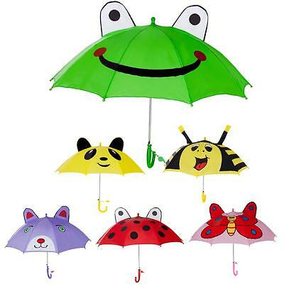 Kids Girls Boy Novelty Cartoon 3D Pop-up Ear Dome Hook Rain Umbrella Brolly Gift